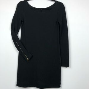 Theory Mini Dress with Gold Zipper Long Sleeve